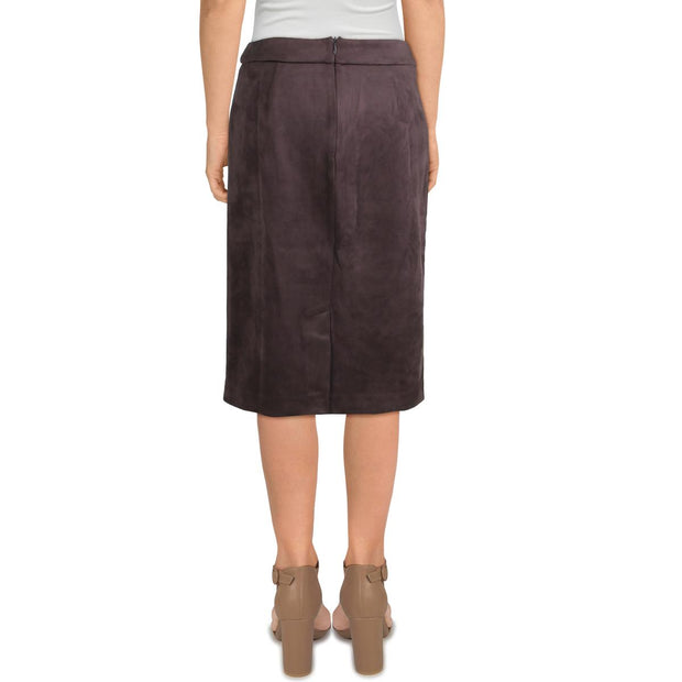 T Tahari Womens Aline Faux Leather Wear To Work Pencil Skirt