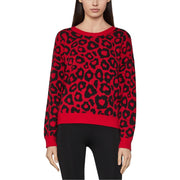 Womens Animal Print Crew Neck Pullover Sweater