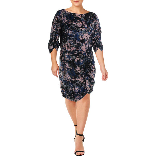 Womens Printed Cinched Party Dress