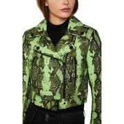 BCBG Max Azria Womens Snake Print Belted Leather Jacket