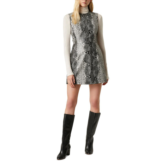 Womens Pleather Snake Print Mini Dress