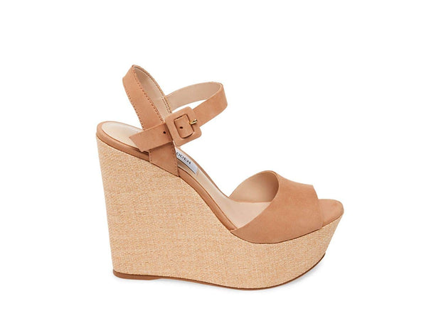 Steve Madden Womens Citrus Leather Open Toe Casual Platform Sandals