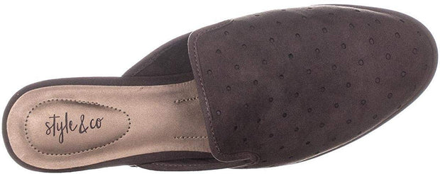 Style & Co. Womens Salina Suede Almond Toe Mules