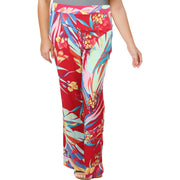 Basler Womens Floral Pull On Wide Leg Pants