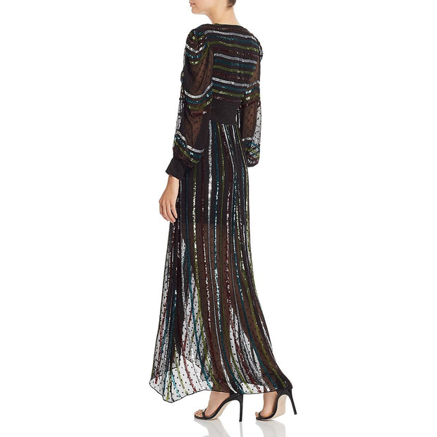 Womens Chiffon Sequined Evening Dress