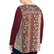 Plus Womens Printed Back Mixed Media Blouse