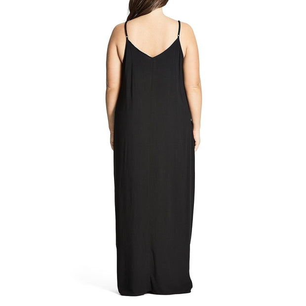 Plus Womens Drapey Spaghetti Straps Maxi Dress