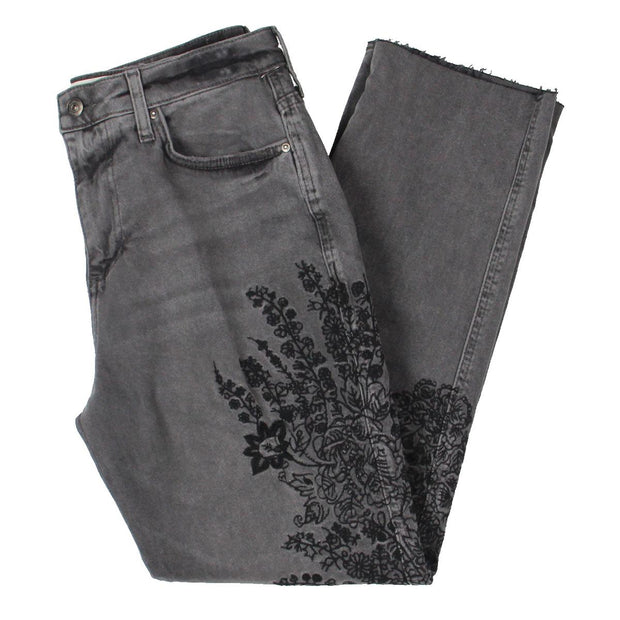 Womens Denim Embroidered Girlfriend Jeans