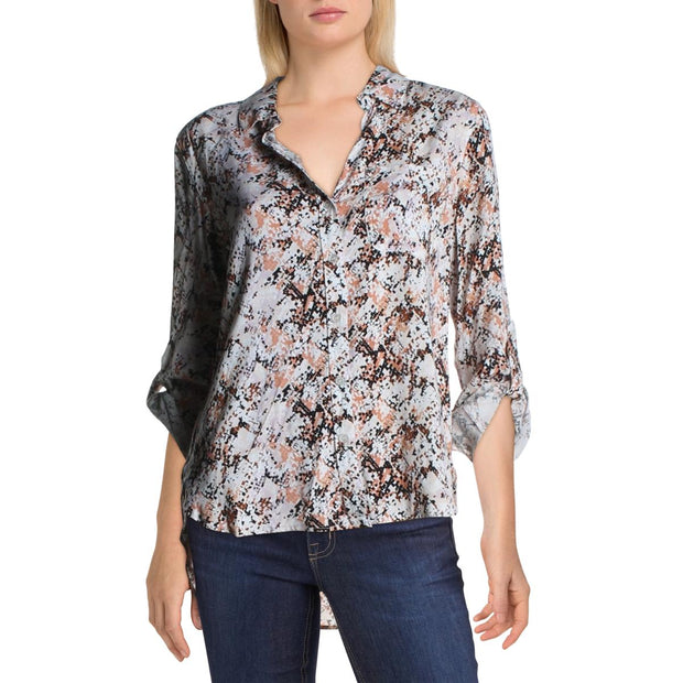 Jak & Rae Womens Pixel Snake Collared Button-Down Top