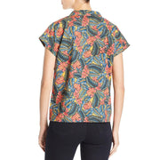 Chiry Jungle Womens Printed Button Up Top