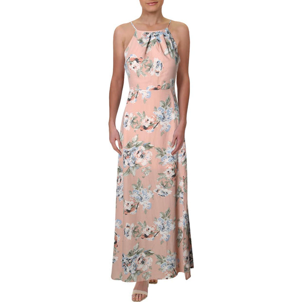 Aqua Womens Floral Halter Maxi Dress