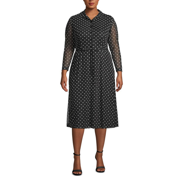Plus Womens Polka Dot V Neck Cocktail Dress