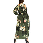 Plus Jasmine Womens Floral Cold Shoulder Maxi Dress