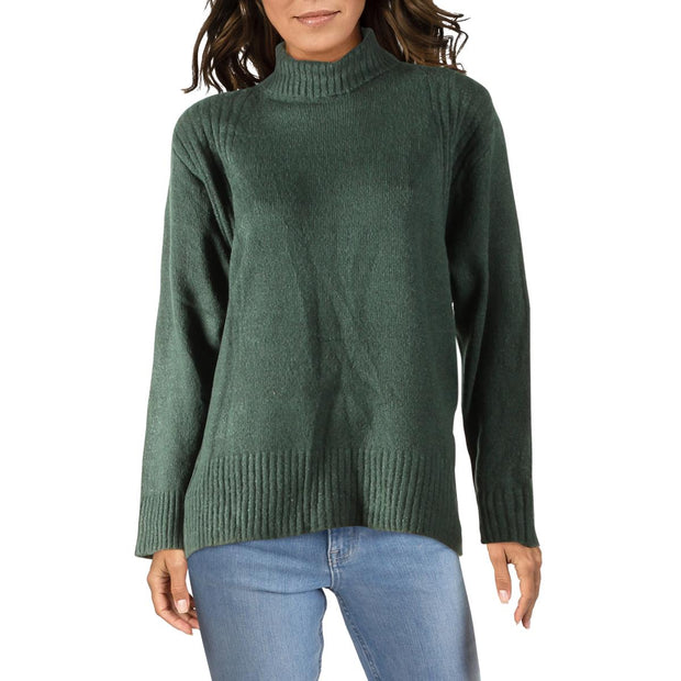 Double Zero Womens Ribbed Trim Oversized Turtleneck Sweater