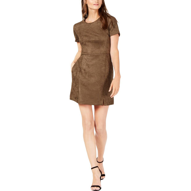 French Connection Womens Faux Suede Short Sleeve Sheath Dress