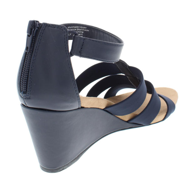 Pearrl Womens Faux Leather Strappy Wedges