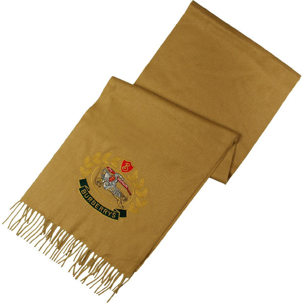 Crest Emblem Womens Cashmere Embroidered Rectangle Scarf