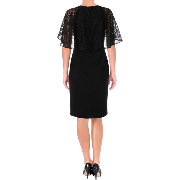 Juniors Tiberia Womens Lace Trim Knee-Length Cocktail Dress