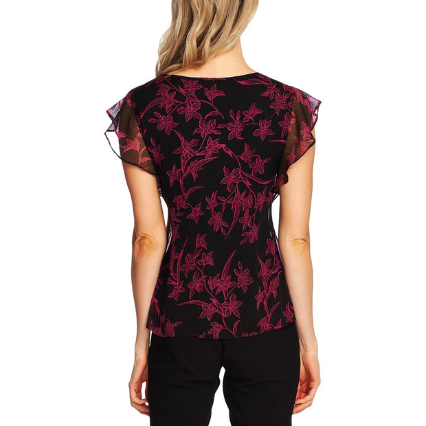 Vince Camuto Womens Floral Print Flutter-Sleeves Top