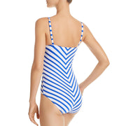 Womens Striped V-Neck One-Piece Swimsuit