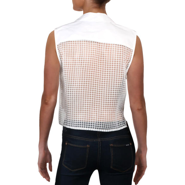 Womens Grid Lace Sleeveless Crop Top