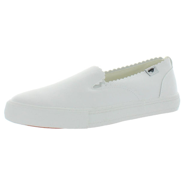 April Womens Faux Leather Scalloped Slip-On Sneakers