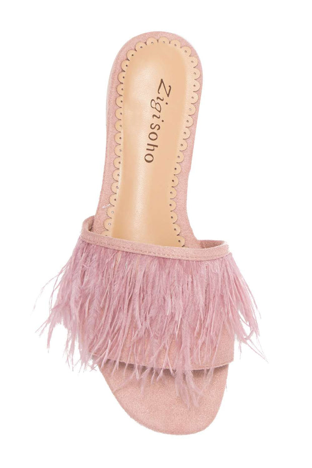 Zigi Soho Womens taylah Faux Fur Open Toe Casual Slide Sandals