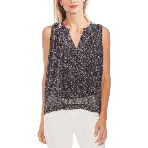 Vince Camuto Womens Printed Pintuck Tank Top