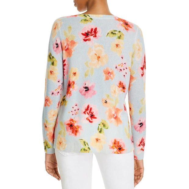 Cashmere Womens Floral Print V-Neck Sweater