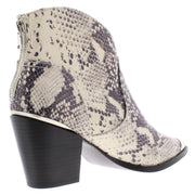 Pose Womens Embossed Block Heel Ankle Boots