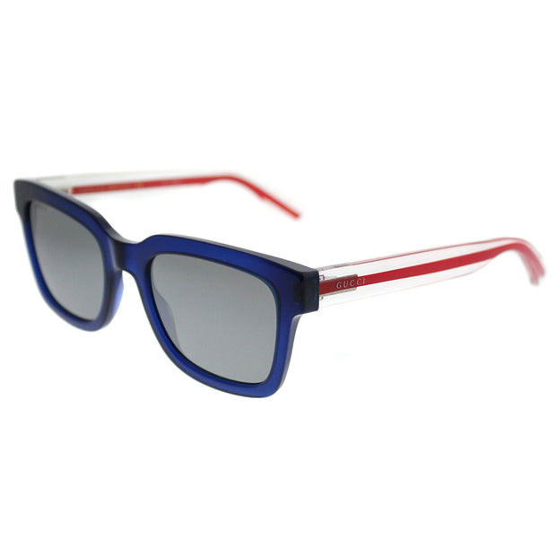 Gucci Square GG 0001S 004 Unisex Transparent Blue Frame Silver Mirror Lens Sunglasses