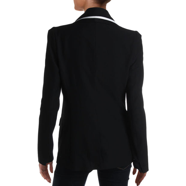 Abbie Womens Wide Lapel Contrast Trim Tuxedo Jacket