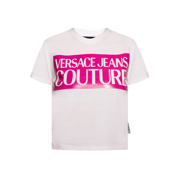 Versace Jeans Couture Women's Logo Cropped Tee Shirt White