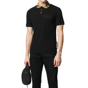 Versace Jeans Couture Men's Baroque Collar Polo Shirt Black