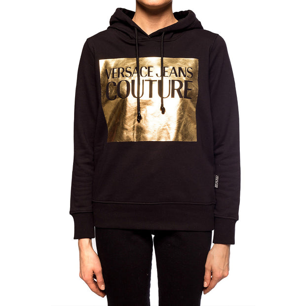 Versace Couture Women's Gold Foil Patch Logo Hoodie Sweatshirt Black