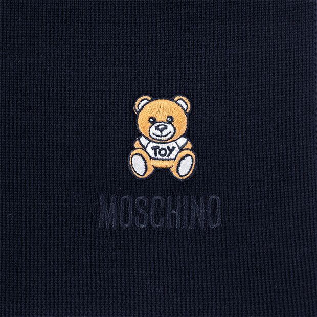 Moschino Wool Teddy Bear Embroidery Scarf Navy Blue