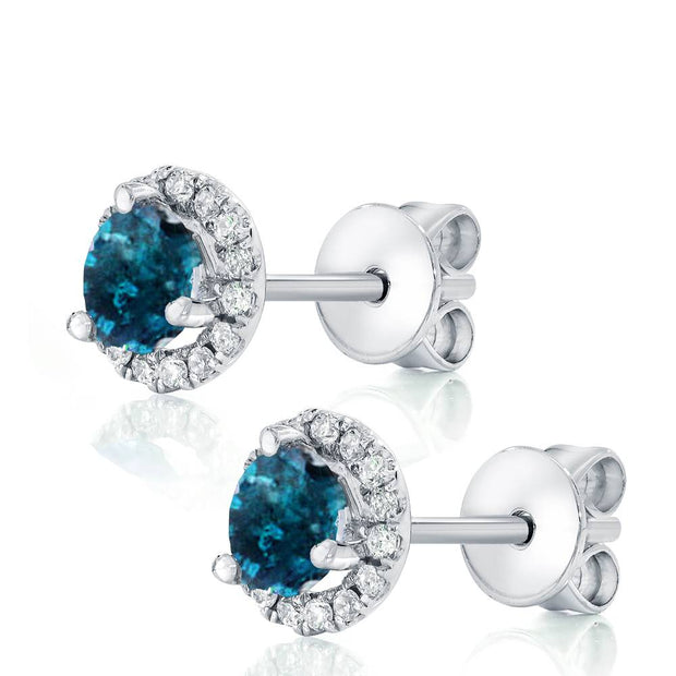 1Ct Blue Diamond Halo Studs White Gold Earrings
