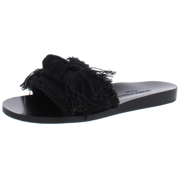 Marion Parke Womens Jordan Fringe Bow Slide Sandals