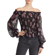 Eileen Womens Lurex Off-The-Shoulder Blouse