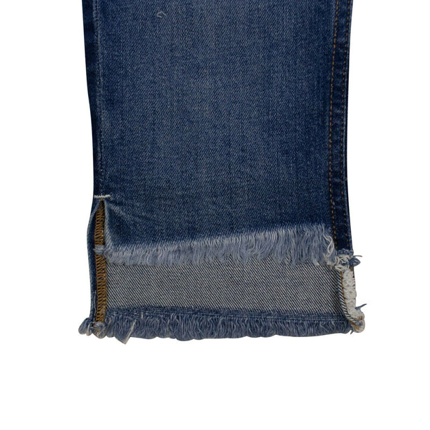 MARCELO BURLON Blue Denim Vintage Two-Tone Slim Jeans