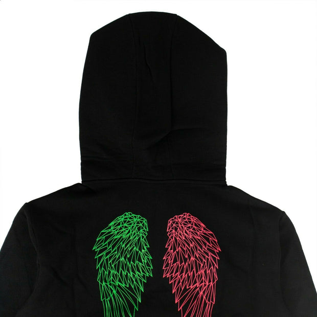 MARCELO BURLON Black Cotton Neon Wings Quarter Zip Sweatshirt