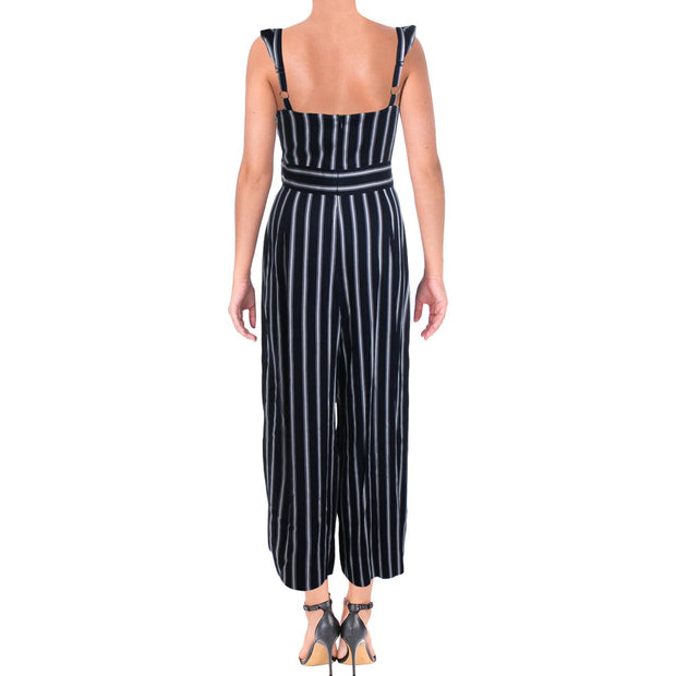 Womens Belted Ruffled Jumpsuit