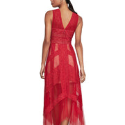BCBG Max Azria Womens Andi Lace Illusion Cocktail Dress