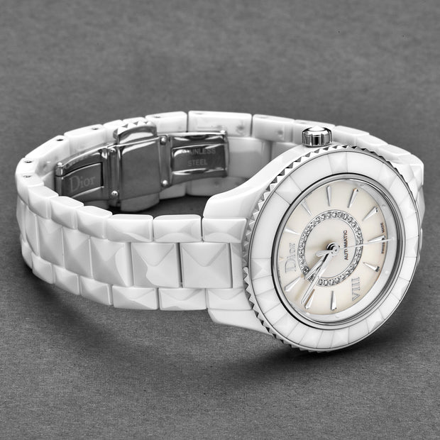 Christian Dior Women's CD1235E3C002 'White VIII' White Diamond Dial Ceramic Swiss Automatic Watch