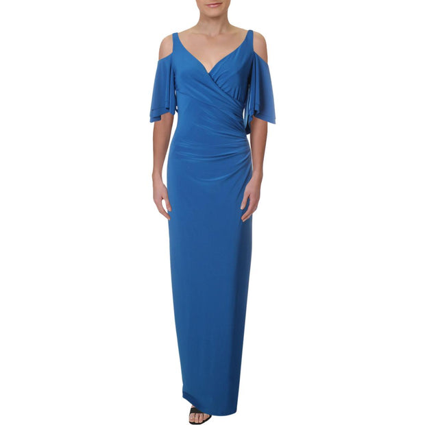 Patlee Womens Cold Shoulder Full Length Evening Dress