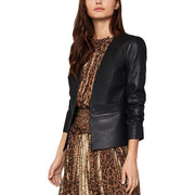 BCBG Max Azria Womens Faux Leather Cropped Jacket