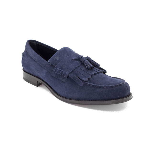 TOD'S Men's Suede Penny Loafer Shoes Navy Blue