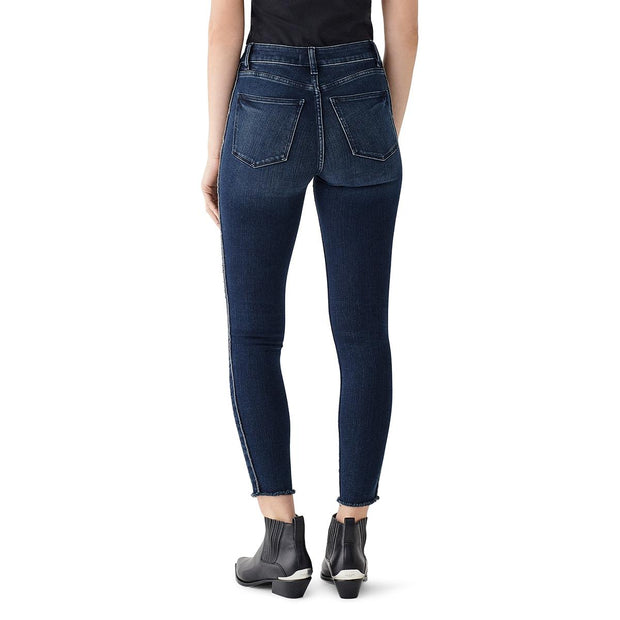 Womens Frayed High Rise Ankle Jeans