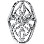 SI 5/8ct Vintage Right Hand Antique Style Diamond Ring 14K White Gold Size 7