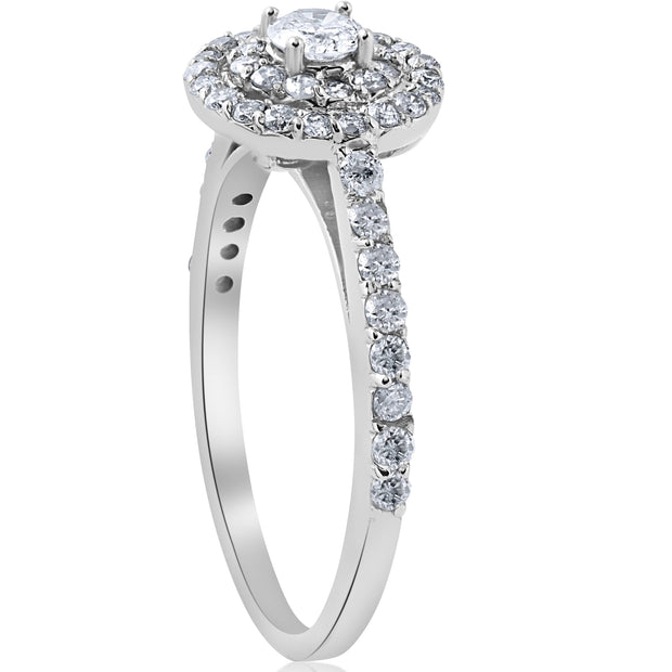 3/4ct Double Halo Round Genuine Solitaire Diamond Engagement Ring 10K White Gold